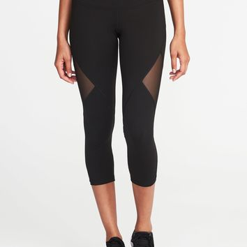 Mid-Rise Mesh-Panel Crops for Women  old-navy