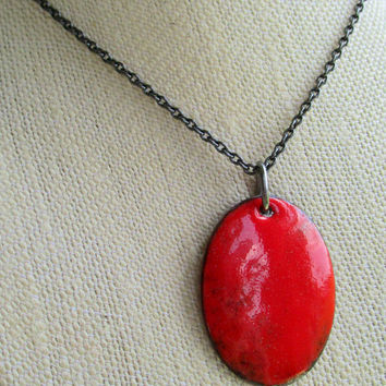 "Bold Red Enamel Pendant on 18"" Gunmetal Chain, Handcrafted Oval Enamel Pendant, OOAK Artisan Jewelry"