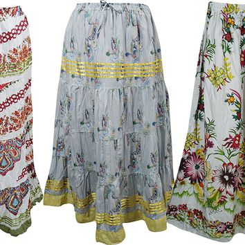 Mogul Womens Skirts Bohemian Printed Hippie Gypsy Long Skirts Wholesale 3 Lot
