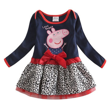 Girl peppa pig dress girl bowknot 100% cotton cartoon girls dress = 1930281348
