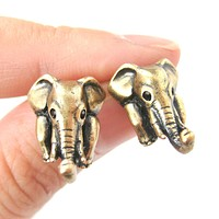 Elephant Realistic Animal Stud Earrings in Brass | Animal Jewelry