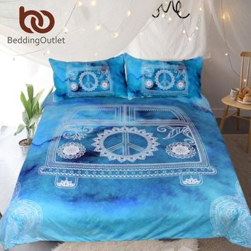 BeddingOutlet Watercolor Car Bedding Set Mandala Blue Duvet Cover Set Peace Design Bohemian Hippie Vintage Mini Van Bedclothes