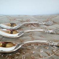 FB Rogers Silver China Spoon Victorian Rose, Vintage Rogers Silver Victorian Spoons