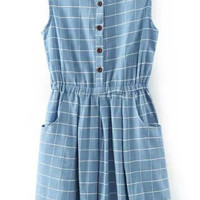 Light Blue Sleeveless Plaid Buttons Denim Dress