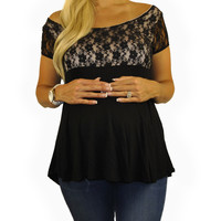 Hip Maternity Clothes-Day Lace Top