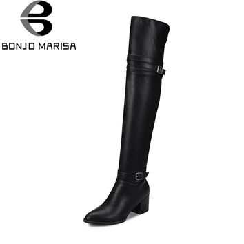 BONJOMARISA Fashion Autumn women's Knight Boots Over Knee Thigh High Boots Women 2018 New High Heels Shoes Woman Plus Size 32-48