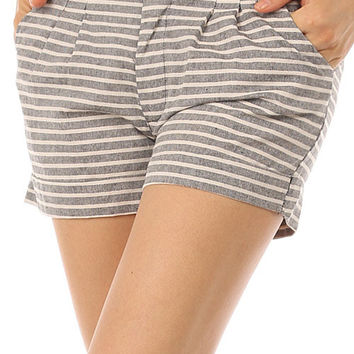 Pleated Heathered Stripe Print Shorts