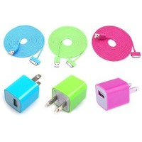 Total 6pcs/lot! 1m USB Cord & Charger for Iphone 5/5s