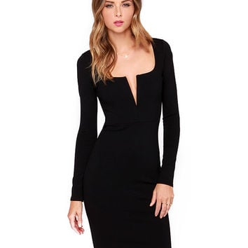 Long Sleeve V-Neck Bodycon Midi Dress