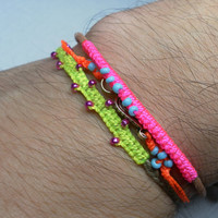 Neon Friendship Bracelets hot neon orange knotted by zurdokero