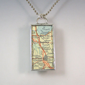 Michigan Vintage Map Pendant Necklace