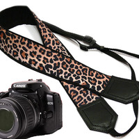 Cheetah camera strap. Leopard camera strap.  dSLR Camera Strap. Camera accessories. Canon Nikon camera strap.