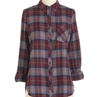 ModCloth 90s Mid-length 3 Button Down By the Light of the Fireside Top in Smoke