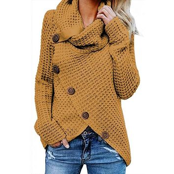 Chic Mustard Buttoned Wrap Turtleneck Sweater