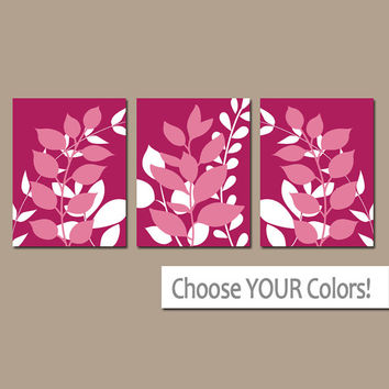 LEAVES Wall Art, Bedroom Pictures, Wine Color CANVAS or Prints Leaf Bathroom Artwork, Foliage Pictures, Flower Art, Set of 3 Home Decor