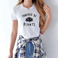 2017 Vegetarian Vegan POWERED BY PLANTS Fashion T Shirt for Women Harajuku Tumblr Cute Tumblr Femme Funny Female T Shirt Tops