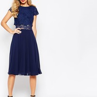 ASOS Crop Top Lace Midi Dress at asos.com