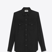 SAINT LAURENT YSL 70S WESTERN SHIRT IN BLACK RINSE LYOCELL TWILL | YSL.COM