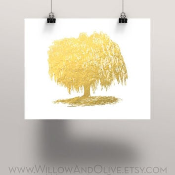WILLOW TREE Faux Gold Foil Art Print - from WillowAndOlive on
