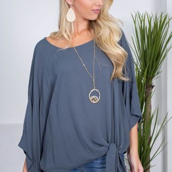 Steel Blue Crepe Knot Top