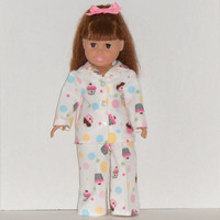 American Girl Doll White Flannel Pajamas with Cupcakes & Polka Dots