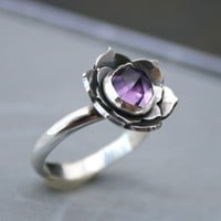 Lotus Amethyst Sterling Silver Cocktail Ring by KiraFerrer on Etsy