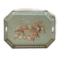 Vintage Tole Tray, Toleware Serving Tray - Willow Green -  Tan and Brown Florals, Handpainted Flowers - Handled - Cutout Sides - Shabby Chic