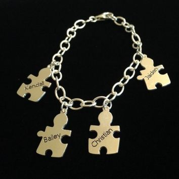 """Mother's Charm"" Sterling Silver Puzzle Piece Charm Bracelet