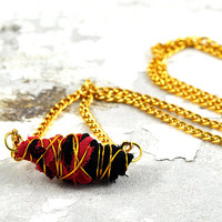 Handmade Fabric Bead - Pink & Black Gold Wire Wrapped Organic Necklace on Gold Chain by DeeDeDeesigns