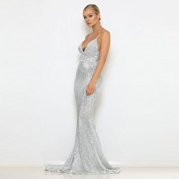 XL XXL Sexy Stretch Silver Sequined Maxi Dress Open Back Floor Length Evening Party Dress Padded V Neck Backless Mermaid Dress