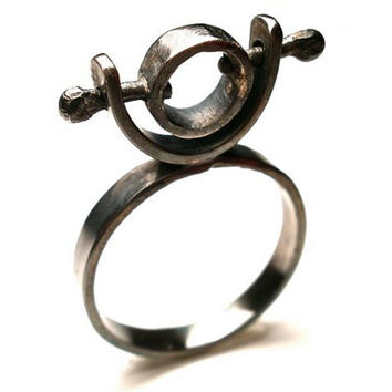 Spinning Orbital Ring in Oxidized Sterling Silver- Size 7