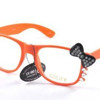Amazon.com: Womens Retro Fashion Kitty Clear Lens Glasses w/ Rhinestone Bow and Whiskers Orange: Clothing