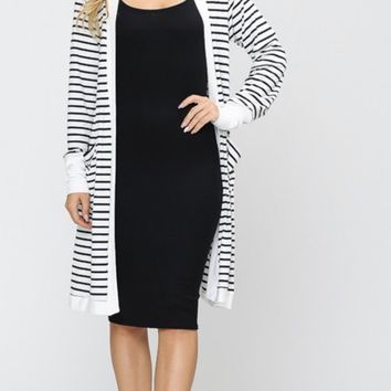 Ivory and Black striped Cardigan