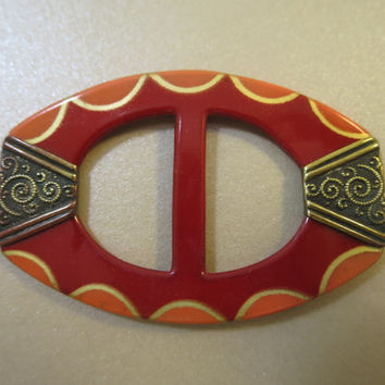 Art Deco Belt Buckle Brass Repousse Detail Red Orange Gold Enamel Czechoslovakia 2 1/4 x 1 1/2 inches 1930's Vintage Belt Buckle