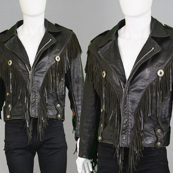 Vintage 80s Leather Jacket Mens Leather Jacket Fringed Leather Jacket Leather Coat Biker Jacket Black Leather Concho Jacket Western Jacket