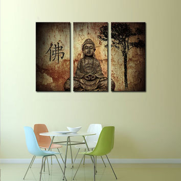 Buddha 3 Picture Canvas Paintings Wall Art