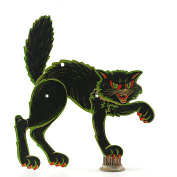 Vintage Beistle Halloween Die Cut, Black Cat, Arched Back Cat, Articulated, Halloween Decor
