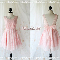 A Party Dress V Shape - Pale Pink Lacy Prom Party Cocktail Wedding Bridesmaid Dinner Night Dress Backless Style