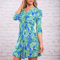 Keep Palm And Resort On Dress, Blue-Lime