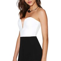 Nasty Gal Stolen Nights Romper - Black/White
