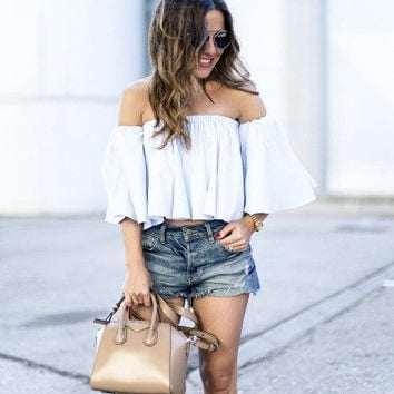 White Shirt Off Shoulder Boat Neck Cotton Blouse
