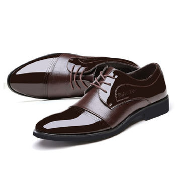 Classical Men Business Shoes Faux Leather Derby Shoes Men Luxury Flat Oxfords Casual Shoes Black/Brown Footwear Male Shoes