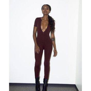 Rompers Womens Jumpsuit Short Sleeve Sexy Deep V neck Bodycon Elegant Jumpsuits Long Pants Overalls for Women
