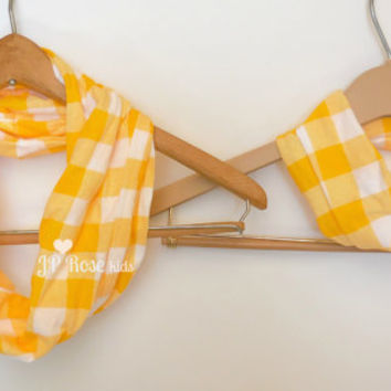 Mommy and Me Gift Set, Plaid Infinity Scarf, Yellow and White Picnic Plaid, Mother's Day Gift, Baby Shower, Daddy and Me, Tshirt Scarves