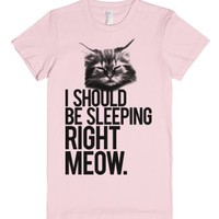 I Should Be Sleeping RIght Meow-Female Light Pink T-Shirt