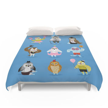 Society6 Owls Wearing Outfits Duvet Cover