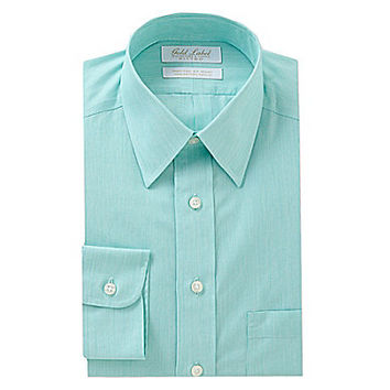 Gold Label Roundtree & Yorke Fitted Point-Collar Dress Shirt - Seafoam
