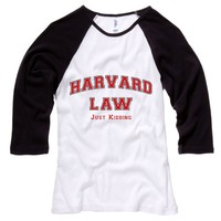 Harvard Law Just Kidding Womens Baseball Shirt - White Body-Black Sleeves