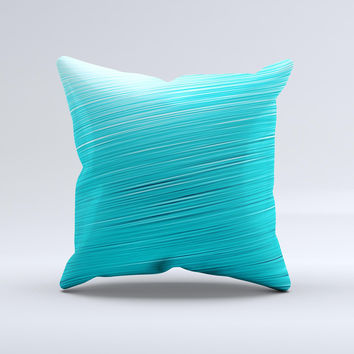 Light Blue Slanted Streaks ink-Fuzed Decorative Throw Pillow
