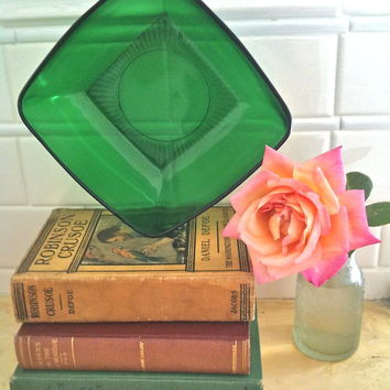 Vintage Green Forrest Square Depression Glass Bowl